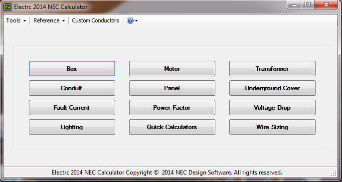 Electrc 2014 NEC Calculator Screen shot